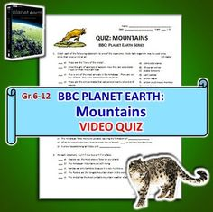 planet earth mountains video questions worksheet editable david attenborough earth and. Black Bedroom Furniture Sets. Home Design Ideas