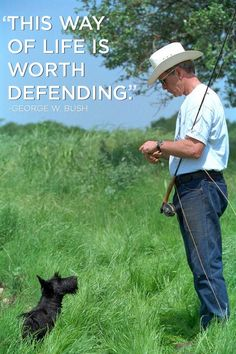 April 2008 - President Bush walks to the pond with Barney and Spot. The dogs went swimming while he went fishing. Photo by Eric Draper, Courtesy of the George W. Laura Bush, Barbara Bush, Pet Memorials, Westies, Little Dogs, Mans Best Friend, Fly Fishing, Dog Training, Cool Photos