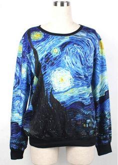 Hot Sale Painting Style Long Sleeve Pullover Sweatshirt