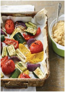 Roasted summer vegetables with cous cous- from Summer Clean Eating menu by Tosca Reno
