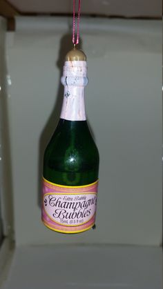 Champagne Bottle Christmas Ornament Decoration - Real Bubbles by GuyzzandDolls on Etsy