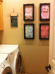 Laundry Room Decor Using Favorite Baby Clothes in Shadow Boxes