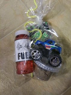 """A monster truck, kinetic sand, bubble """"fuel,"""" Pop Rocks, and a bendy straw! Hot Wheels Birthday, Race Car Birthday, Cars Birthday Parties, Lego Parties, Lego Birthday, Birthday Ideas, Birthday Cake, Monster Trucks, Monster Truck Birthday"""