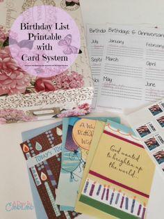 A Day In Candiland   Birthday Card Organization System and Printable list #sendsmiles #ad    http://adayincandiland.com