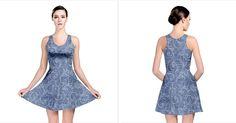 Blue Romantic Flower Pattern Denim Reversible Skater Dress