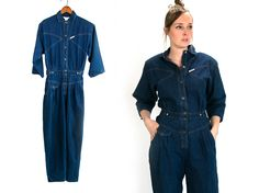 Vintage 1980's IDEAS Brand Long Denim Button Up One Piece Coveralls Outfit Retro/Hipster Cotton Women's Tall Medium Large Jumpsuit Vtg Vg by thiefislandvintage on Etsy