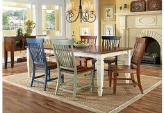 Love this dinning room set from Rooms to Go- Fruit-wood California Cottage Farmhouse