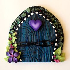Violet Heart Fairy Door by Claybykim on Etsy