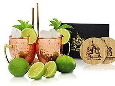 Handcrafted Hammered Pure 16oz Solid Copper Moscow Mule Mugs Set of 2 with Gift Box Bonus Classic Wooden Coasters and Free Copper Straws: Cups Mugs & Saucers