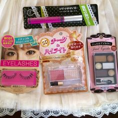 Kawaii Japanese Makeup Lot Bundle Lashes Gorgeous bundle of kawaii Japanese makeup! 1 Pair of full & voluminous false lashes 1 Seductive cheek & Highlight duo: pink blush & pearl highlighter 1 Mini eyeshadow palette with 6 shades of neutral brown tones 1 Long Lash Mascara in black ALL BRAND NEW & IN ORIGINAL PACKAGING NO TRADES PRICE IS FIRM Makeup