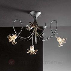 Floral stålampe KAPUA med glassblomster, 3 l 7540191