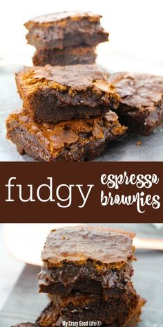 Easy healthy recipes that your family will love! Meal Prep Recipes and Tutorials Espresso Brownies, Coffee Brownies, Box Brownies, Ww Recipes, Healthy Dessert Recipes, Brownie Recipes, Delicious Desserts, Dark Chocolate Recipes, Chocolate Flavors