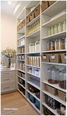 Kitchen Organization Pantry, Home Organisation, Organized Pantry, Open Pantry, Diy Organization, Diy Kitchen Storage Cabinet, Clothing Organization, Household Organization, Walk In Pantry