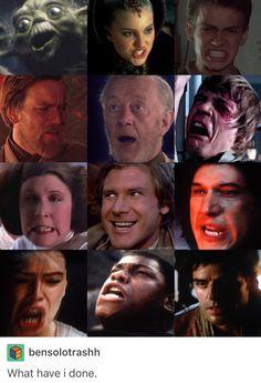 Star Wars tfa prequels Han Solo Princess Leia organa General Leia organa Kylo ren Luke skywalker Obi wan kenobi yoda Rey finn poe dameron