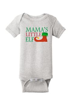 Papa's Little Elf Christmas Baby One Piece Christmas Onesie, Christmas Baby, Cute Onesies, Santa Cookies, Cotton Thread, One Piece, Sweatshirts, Sleeves, Clothes