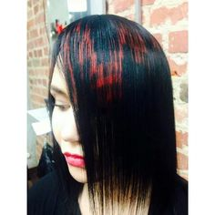 black and red pixel hair