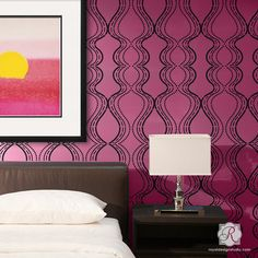 All The Right Curves Damask Bari J Wall Stencil for bed wall