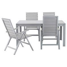IKEA - FALSTER, Tisch+4 Hochlehner/außen, , Rückenlehne 5-fach verstellbar.Mit einem passenden Polster wirds noch bequemer und die Möbel lassen sich dem eigenen Geschmack anpassen.
