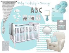 Grey and Aqua Nursery Inspiration Board - these colors and similar accents for two cribs in our coral colored master bedroom equals instant awesome twin nook!