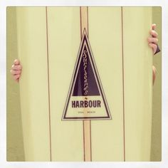 HARBOUR Surfboards / olive tint with brown pin lines as stringers