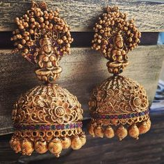 Gold Plated South Indian Lakshmi Temple Jewelry Necklace Set/ Gold plated Temple work Choker and Jhumka Earrings Set Gold Jhumka Earrings, Gold Earrings Designs, Gold Jewellery Design, Gold Jewelry, Jewellery Earrings, Indian Earrings, Jewelery, Jhumka Designs, Gold Bangles