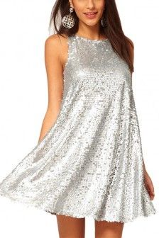 Silver Sequins Round Neck Party Dress