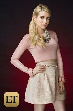 Emma Roberts as Chanel Oberlin #ScreamQueens @ScreamQueensTV..  BEAUTIFUL EMMA ROBERTS I LIKE HER  LOVELY OUTFIT. Sal P