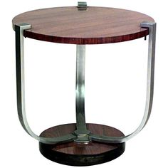 French Art Deco Circular End Table Attributed to Dominique
