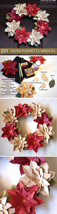 DIY Poinsetta Wreath christmas diy ideas craft flowers paper crafts origami wreaths christmas crafts christmas decorations christmas decor christmas crafts for kids christmas wreaths chistmas diy poinsetta