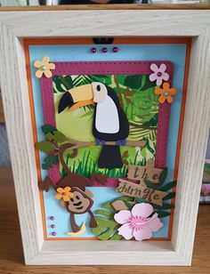 Kids Cards, Baby Cards, Marianne Design Cards, Paper Art, Paper Crafts, Tropical, Animal Cards, Crazy Cats, Diorama