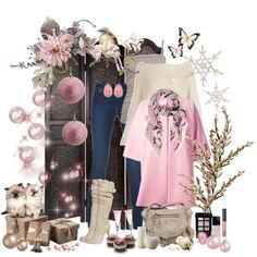 """pink beige and blue"" by ntina36 on Polyvore"