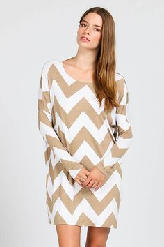 CHEVRON PRINT SHIFT DRESS- Mocha