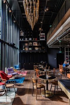 Discover the unique, modern Ruby Lilly Hotel & Bar in Munich. A Lean Luxury concept hotel with high-end amenities, cozy rooms and a cool bar. Coffee Shop Interior Design, Pub Interior, Italian Interior Design, Coffee Shop Design, Restaurant Interior Design, Cafe Design, Design Design, Restaurant Hotel, Restaurant Furniture