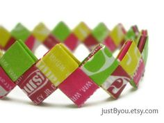 Starburst Recycled/Upcycled Candy Wrapper Bracelet by justByou