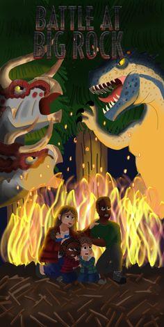 Jurassic World: Battle at Big Rock by Fossilnerd on DeviantArt Blue Jurassic World, Jurassic World Dinosaurs, Godzilla, Dinosaur Illustration, Park Art, Prehistoric Creatures, Battle, Rock, Artwork