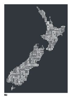 Bold & Noble New Zealand print. Homewares, home decor, prints and kitchenware online from the Perch Home online store in New Zealand Map Of New Zealand, New Zealand Houses, Honeymoon In New Zealand, Word Map, Zealand Tattoo, Rockett St George, Nz Art, All Things New, Lovely Things