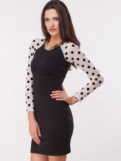 b9259303f9b CATWALK88 Bodycon Dress With Polka Dotted Sleeves purchase online from  koovs Lace Sleeves, Online Purchase