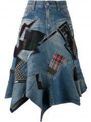 Junya Watanabe Comme Des Garçons Patch Denim Skirt The Parliament Farfetch. Diy Jeans, Recycle Jeans, Jean Rapiécé, Jean Diy, Denim Look, Mode Jeans, Denim Ideas, Denim Crafts, Denim Patchwork