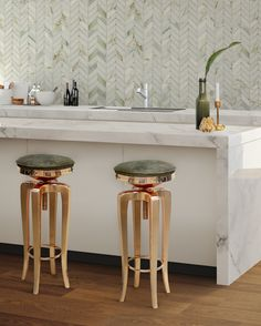 The tiles and stools for kitchen