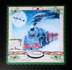 MALE RELATIVES CHRISTMAS STEAM TRAIN by Shelagh E Osborn Wright: I printed onto matte photo paper full size, cutting out an extra sign post…