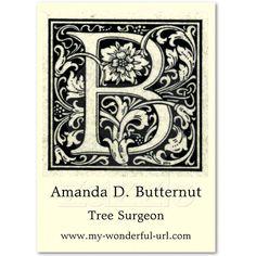 "Decorative Letter ""B"" Woodcut Woodblock Inital Business Card | Zazzle.co.uk"