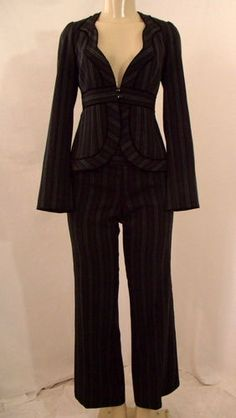 Nanette Lepore Black Blue Pinstripe Scalloped V Neck Wool Pant Suit Jacket Sz 6 | eBay $99.99