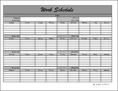 8 Best Images of Printable Work Schedule - Printable Weekly Work Schedule Template, Printable Employee Work Schedule Template and Printable Employee Work Schedule Template Monthly Schedule Template, Schedule Calendar, Excel Calendar, Schedule Printable, Weekly Schedule, Schedule Of Works, Blank Calendar, Invoice Template, Planner Template