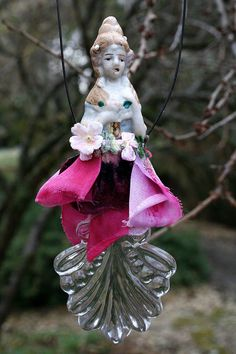 Victorian Style Altered Art Assemblage Doll Ornament Pink Petals Vintage Leaf Suncatcher  Home Decor - Original Art - Southern Belle by ASoulfulJourney on Etsy https://www.etsy.com/listing/254995139/victorian-style-altered-art-assemblage