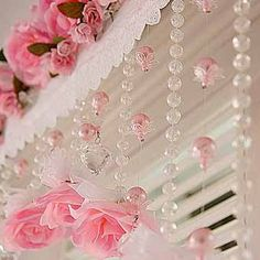 Curtain Embellishments - Strings of beads add a little sparkle. Cute Curtains, Shabby Chic Curtains, Beaded Curtains, Diwali Decorations, Festival Decorations, Cortinas Shabby Chic, Victorian Curtains, Ganapati Decoration, Decorating Flip Flops