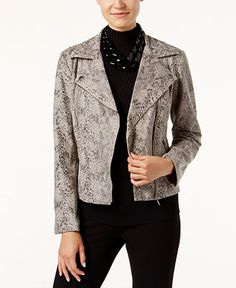INC International Concepts Snakeskin-Print Faux-Leather Moto Jacket, Only at…