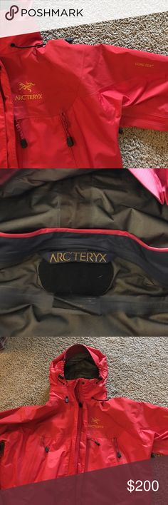 Arc'teryx Gortex Rain Jacket Ladies Gortex rain jacket.   Lightweight three zip pockets in front and two zip vents located under arm pits.  Velcro adjustment at wrist to keep wind and rain out.  Cinch at waist, neck, hood.  Good can also be zipped away.  Two small black spots on back left couldn't and back left back of arm.  See in pic Arc'teryx Jackets & Coats Utility Jackets