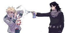 Bakugou and Aizawa-sensei Boku No Hero Academia Funny, My Hero Academia Shouto, My Hero Academia Episodes, Hero Academia Characters, Comic Anime, M Anime, Fanarts Anime, Anime Guys, Anime Stuff