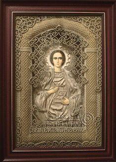 macrame, macrame art, St. Nicolas icons, icons art, religious icons, russian religious icons, icons art. Applied art. Holy Greatmartyr and Healer Panteleimon. Denshchikov Vladimir