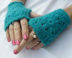Turquoise Fingerless Gloves  2006FG by Pepperbelle on Etsy, $15.00